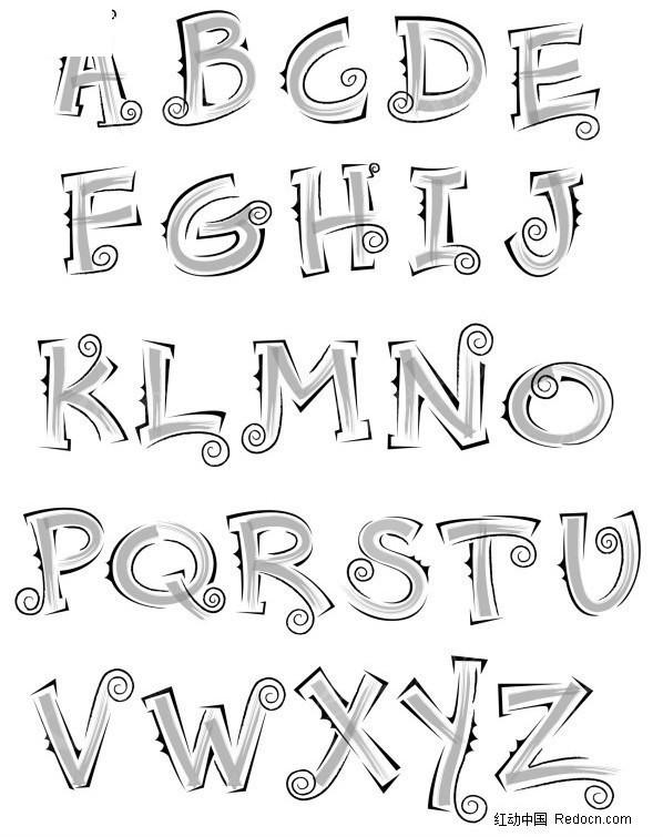 手绘风格英文字体矢量艺术字(编号:462639)_英; 手绘风格英文字体