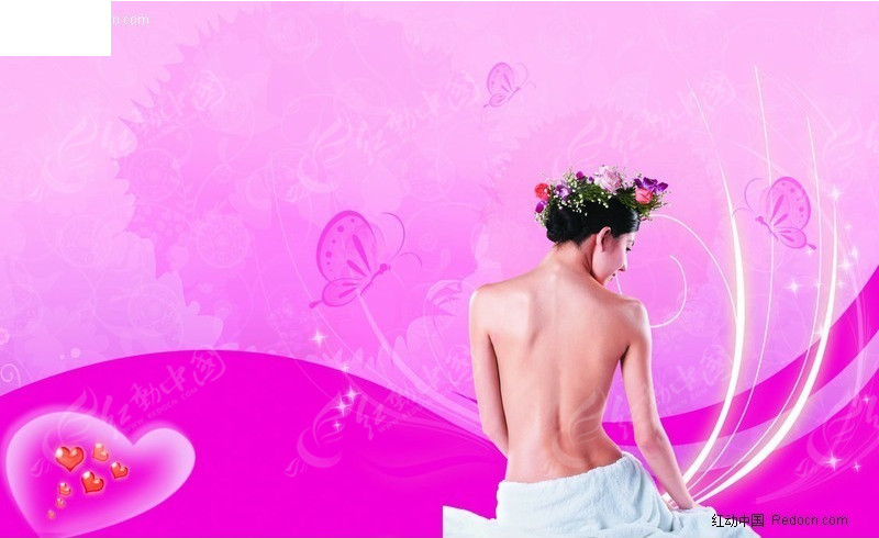 美容院宣传广告; 美女美体spa生活馆展示psd素材下