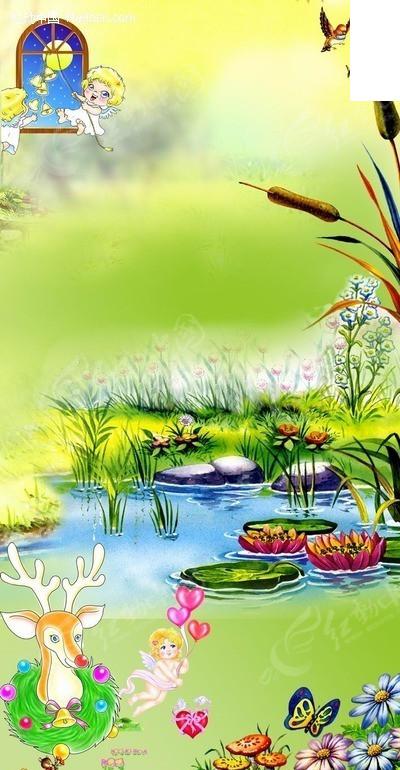 窗户外卡通风景挂画