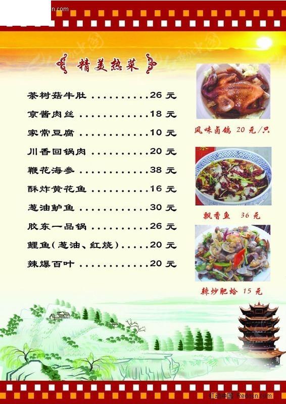 精美热菜菜谱设计图片