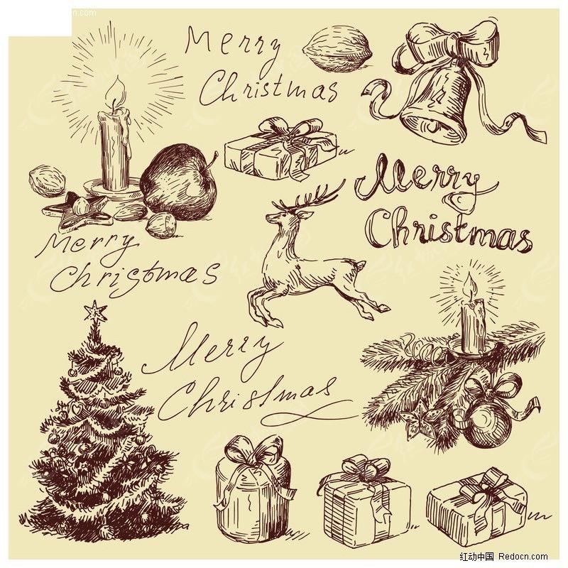 手绘圣诞相关物品