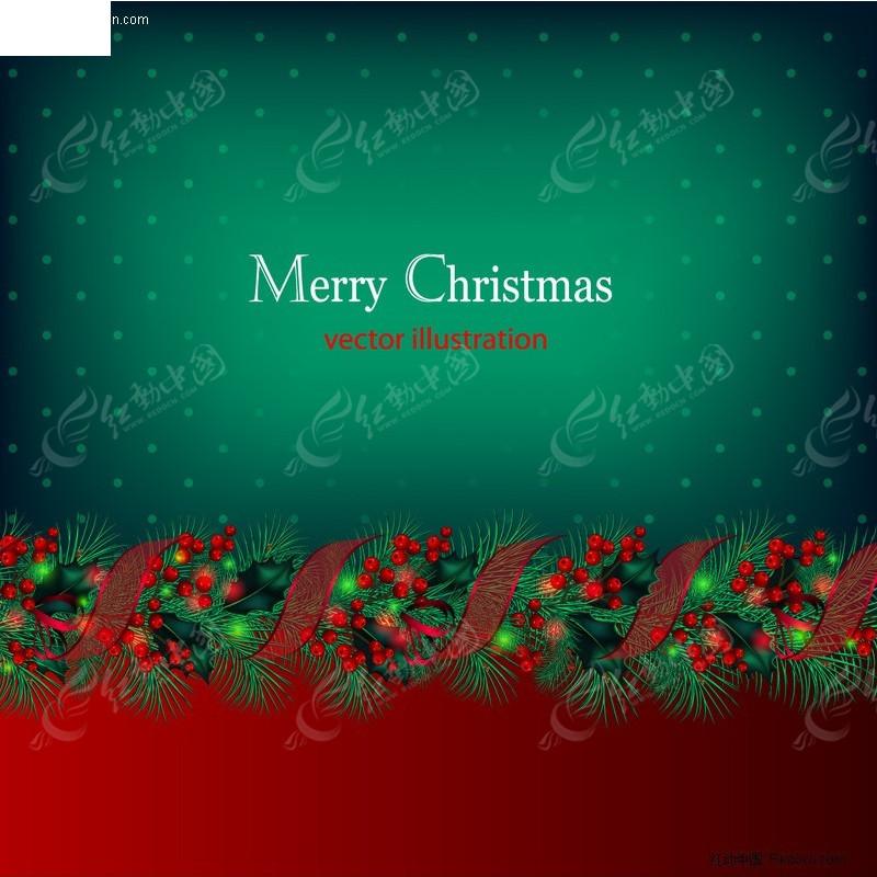 圣诞节装饰树叶矢量图_圣诞节