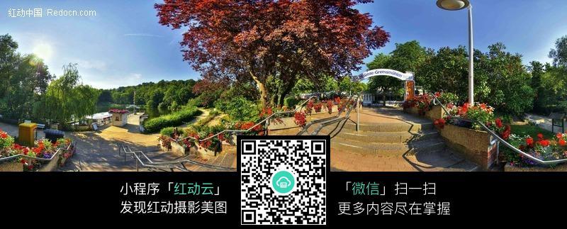 公园 360°全景图 360全景图 360度全景风景图 广角图 宽景图摄影图片