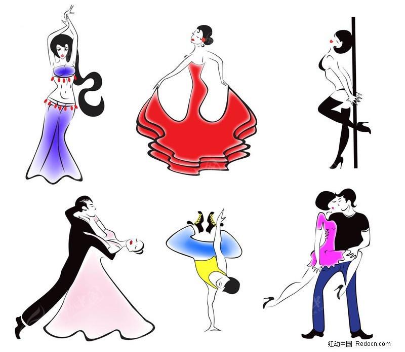 跳舞的人物简笔画