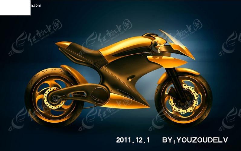 超酷摩托车手绘图