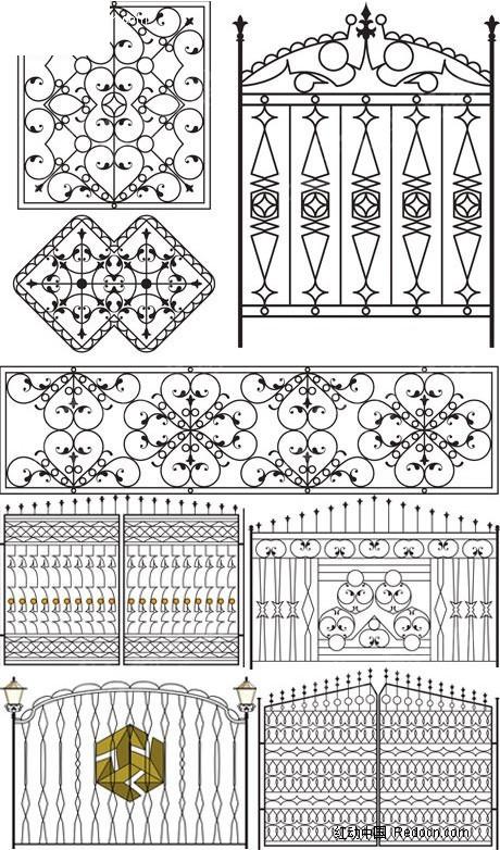 多款铁艺门与围栏矢量素材