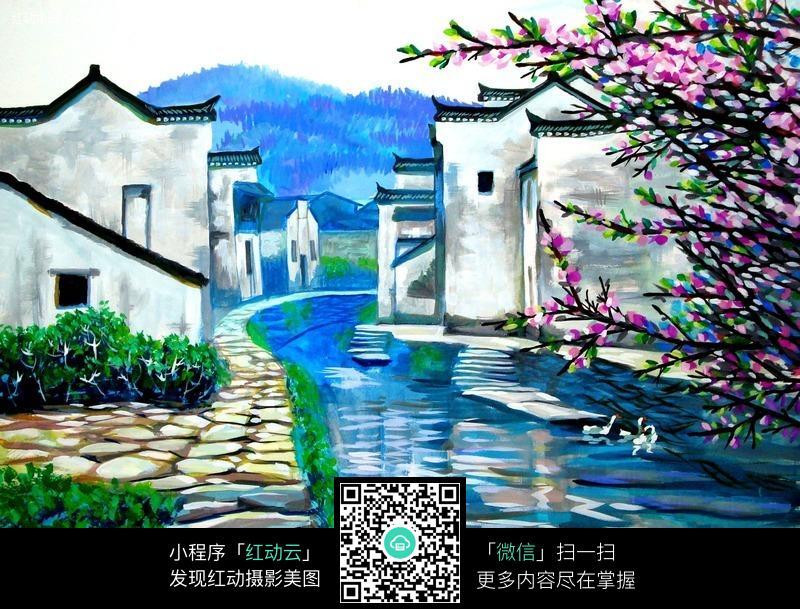 水彩徽派建筑风景图片