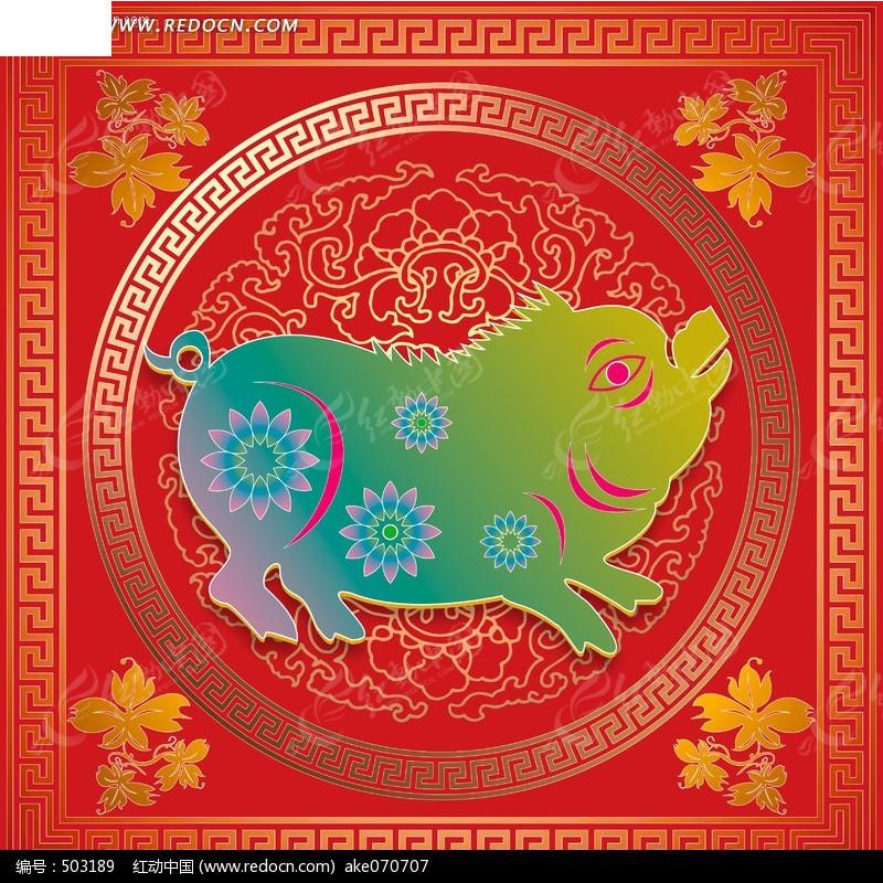 免费素材 psd素材 psd艺术文化 传统图案 十二生肖 猪线描图片  请您