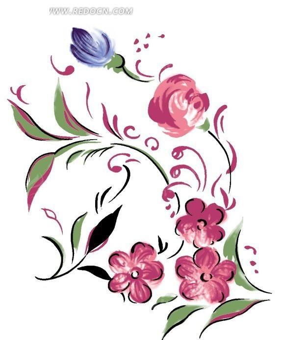 手绘风格花朵
