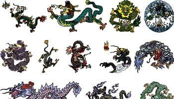 彩色中国龙矢量图案
