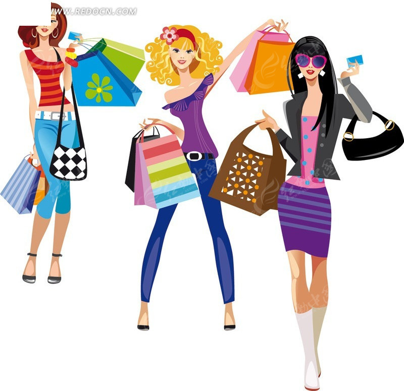 时尚购物女性矢量图_女性女人