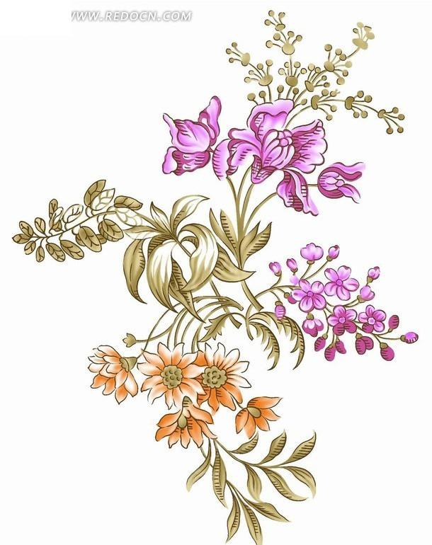 素材下载 psd素材 psd花纹边框 花纹花边 > 精美手绘花朵素材