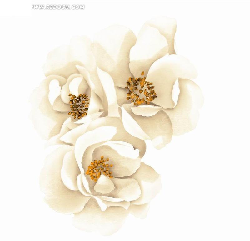 淡雅手绘花朵素材