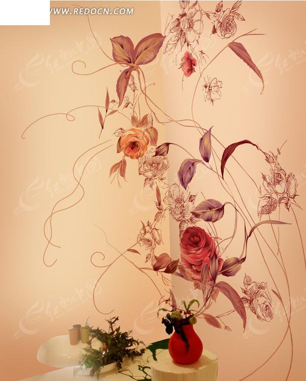 精美手绘墙绘牡丹素材