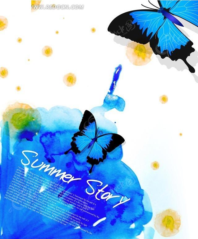 蓝色蝴蝶背景图