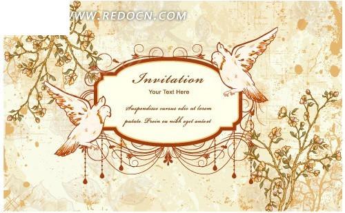 欧式复古花鸟背景图案矢量图图片