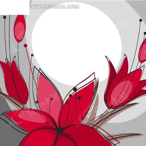 手绘水墨花卉 01矢量图    古典花纹边框 卡片 古典 欧
