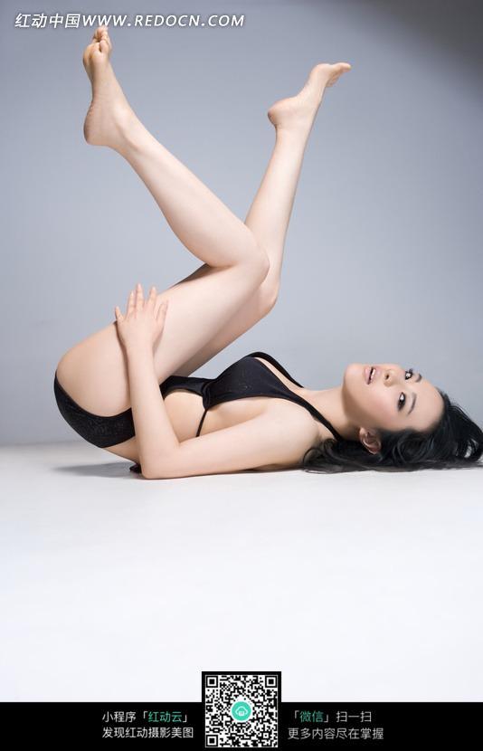美女 美腿/黑色内衣美腿美女