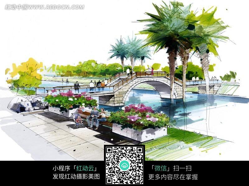 手绘园林景观设计图 小桥图片图片