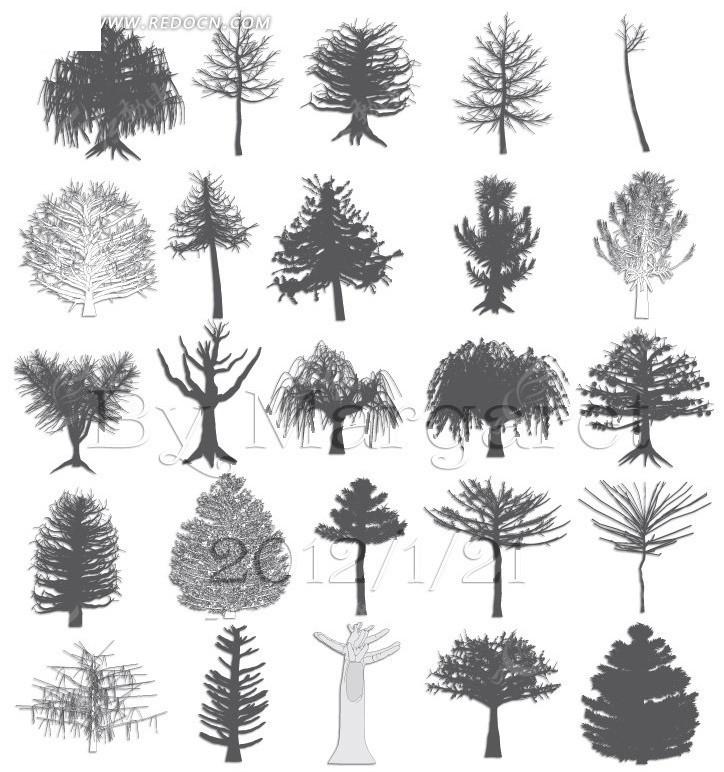 手绘素描树木图案