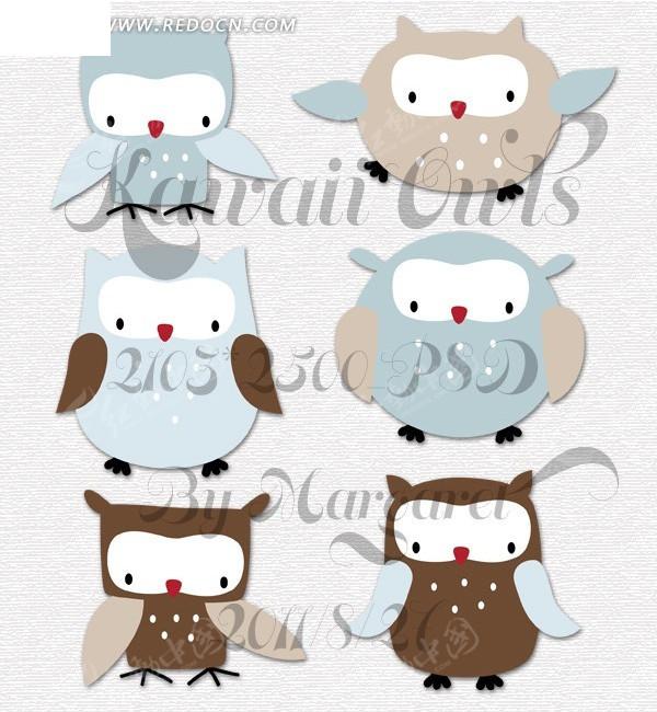 可爱猫头鹰插画设计图片;