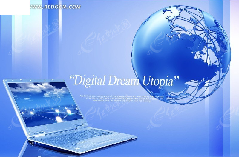 笔记本电脑 信息时代 科技蓝背景 地球 广告设计模板 psd分层素材图片