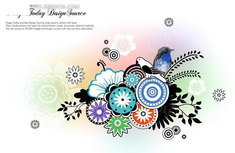 一组抽象圆形花朵纹样图案psd免费下载_花纹花边素材