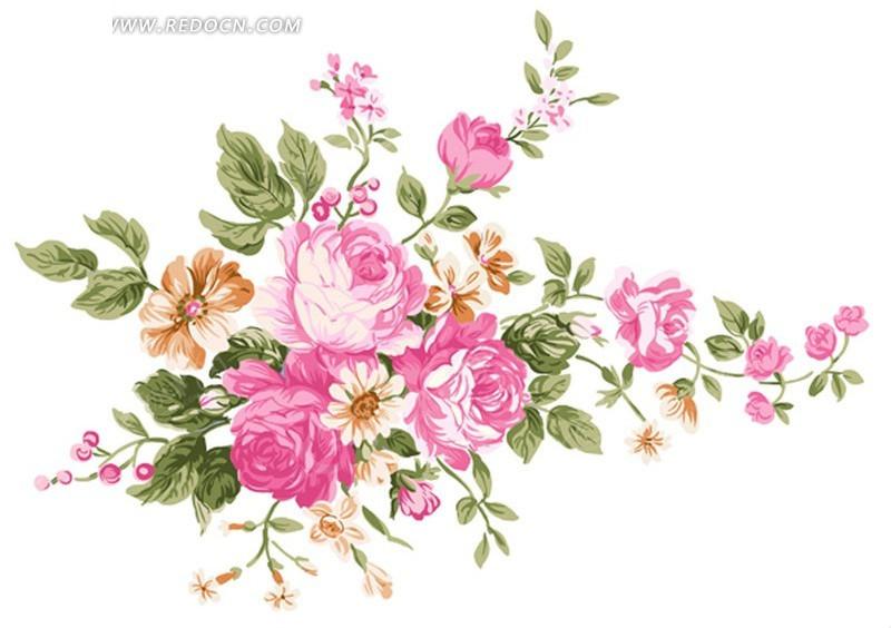 手绘牡丹花花朵