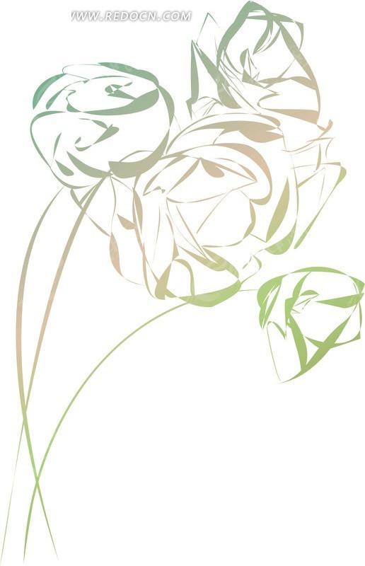 矢量抽象玫瑰花花朵