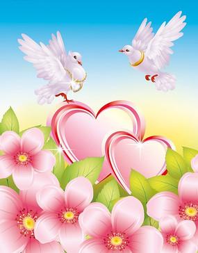 鲜花红心鸽子背景图片
