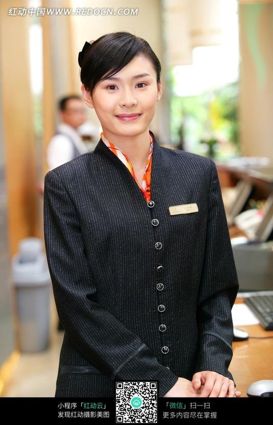 酒店前台服务员_金伟乐空姐制服酒店前台收银制服餐厅工作服