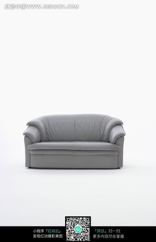 灰色真皮双人沙发