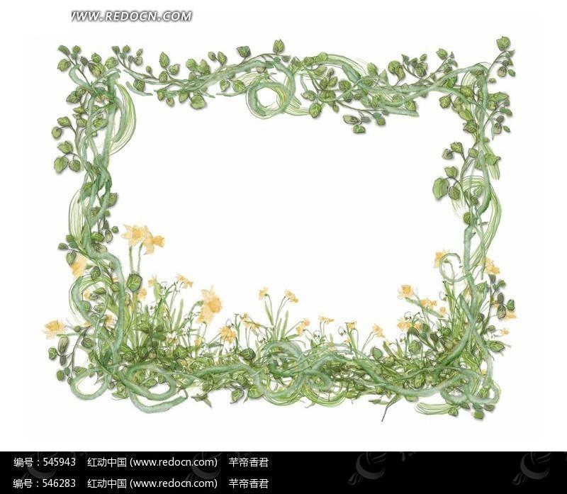 花藤组成的精美方形绿色花框