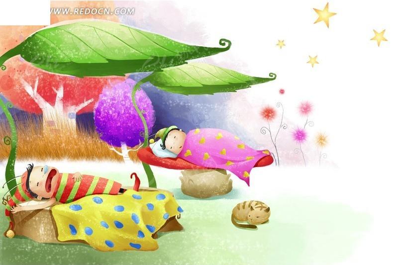 小孩睡觉插画图片