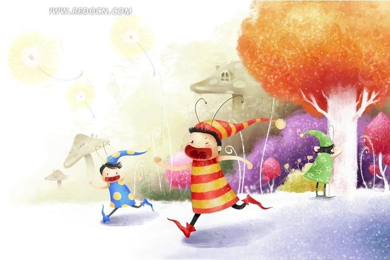 小孩奔跑插画