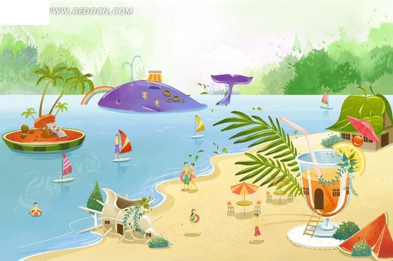夏天海滩环境插画psd免费下载_卡通人物素材