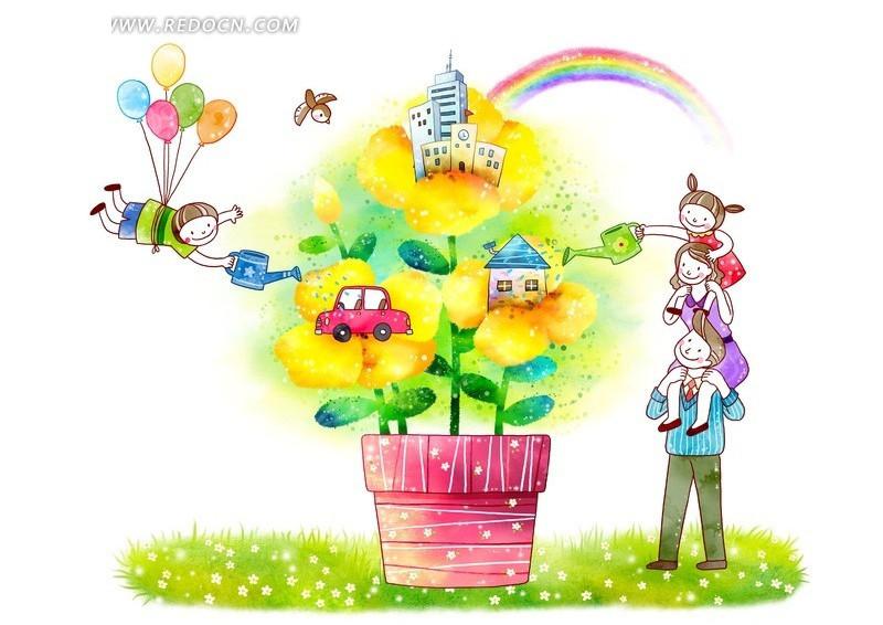浇花环境插画图片
