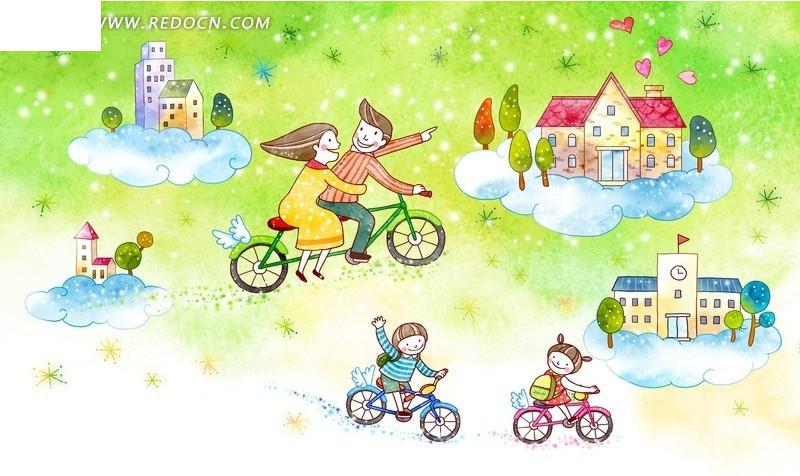 骑自行车环境插画psd免费下载_卡通人物素材