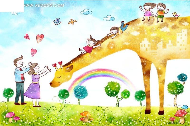 长颈鹿卡通绘画