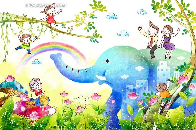 大象卡通绘画psd素材免费下载_红动网图片