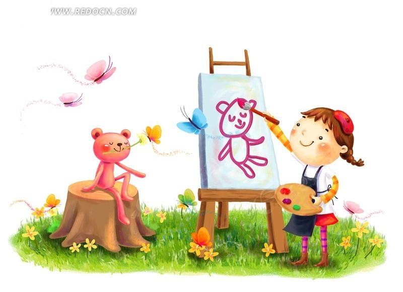 画画的小女孩和小熊韩国插画