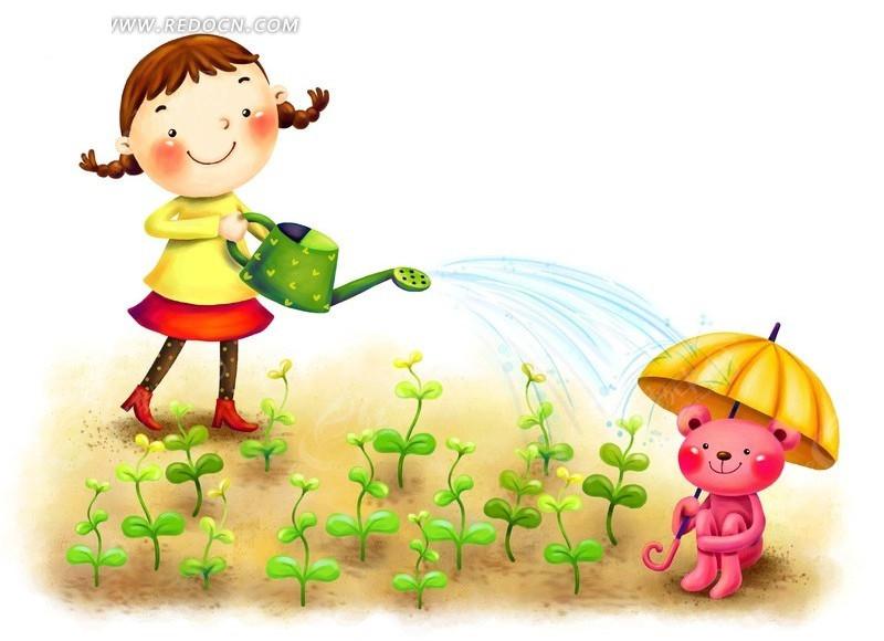 小女孩和小熊浇花 浇花 雨伞 小熊 卡通人物 动漫 插画 儿童生活 儿童