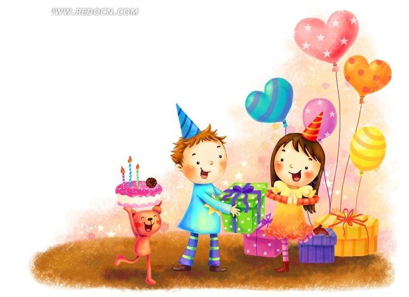送生日礼物韩国插画_卡通人物