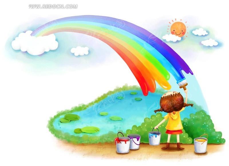画彩虹韩国插画 卡通人物