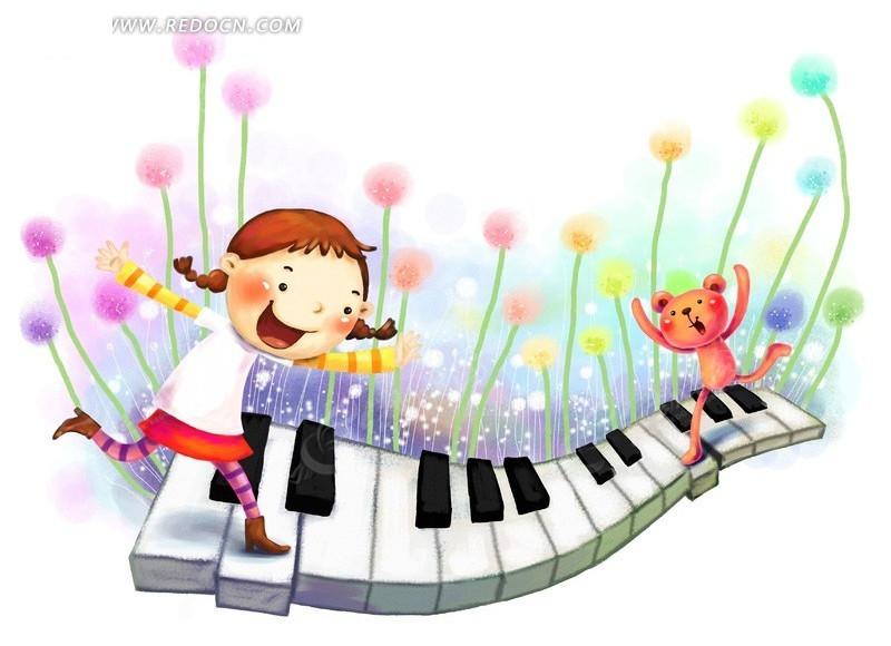 走着钢琴键韩国插画