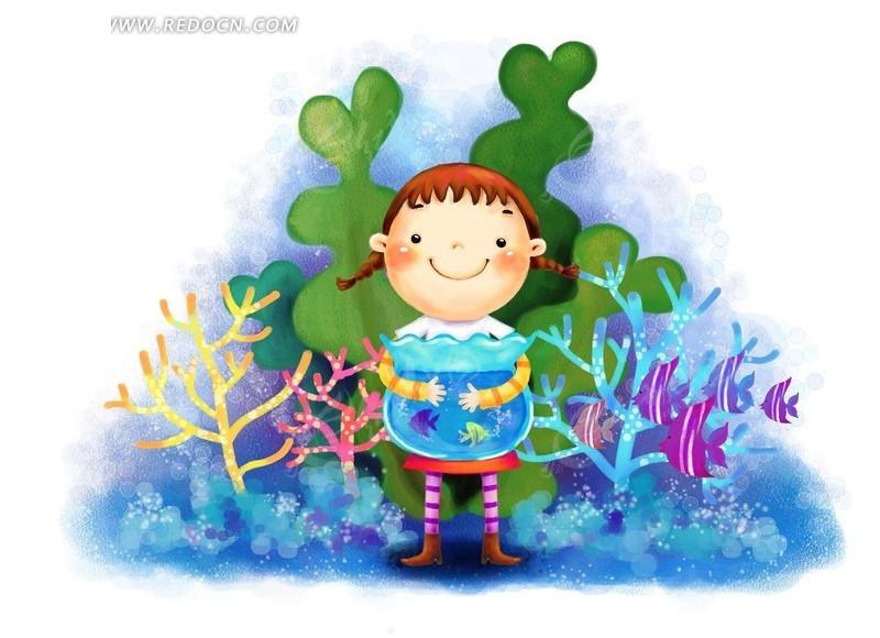 小女孩抱着浴缸韩国插画psd免费下载_卡通人物素材