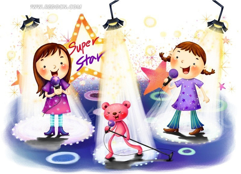 歌唱表演韩国插画_卡通人物