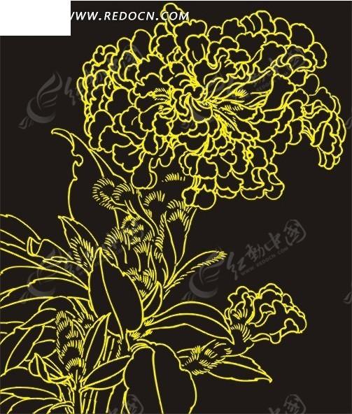 白描花卉矢量图cdr免费下载_花草树木素材