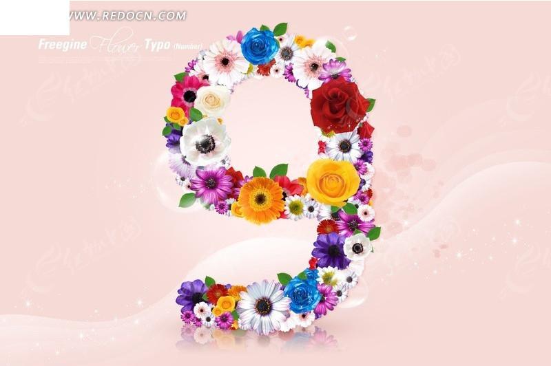 鲜花组成的数字九图片