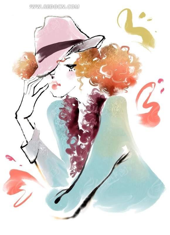 手绘时尚美女插画图片